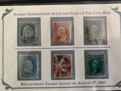 PCS 1861 US Stamps Of The Civil War Era 6 Stamp Set Demonitized & Replacement