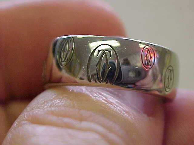 Cartier 18k White Gold Designer Ring Size 9-1/2  Unisex