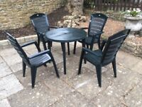 Strong dark green platic garden table set