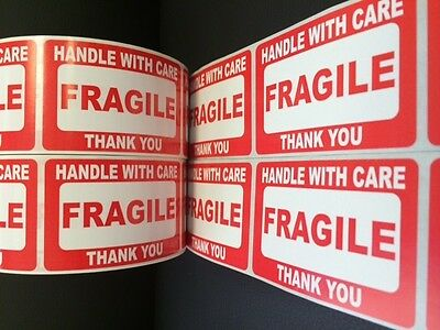 100 2x3 Fragile Stickers Self Adhesive Handle 10 Orange Thank You Smiley Labels