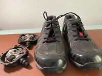 Shimano MT34 cycling shoes size 47 / UK 12 but fits size 10.5-11. PLUS PEDALS, used once