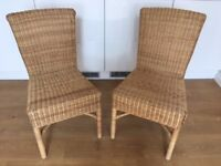 2x Wicker Rattan Chairs dining living room furniture