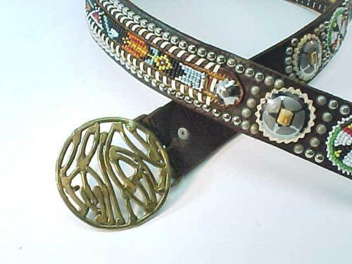 """True Vintage 60s Leather Belt 30"""" 35"""" Funky Brass Buckle Hippie By - VAL ARTZ"""