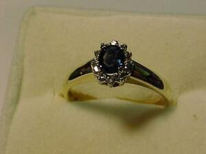 #3301-BIRKS 14K YELLOW GOLD SAPPHIRE/DIAMOND DRESS RING-Size 6 1/2-