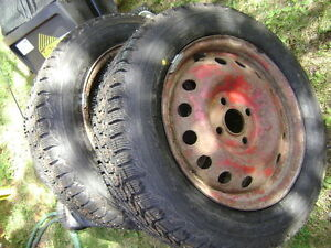 2 New Mud and Snow Studded Tires on Rims for Sale