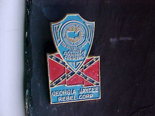 Solid Brass Georgia GA Jaycee Chamber of Commerce License Plate Tag Topper wFlag