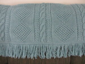 "Hand-Made Dusty Blue knitted Afghan 58"" x 52"""