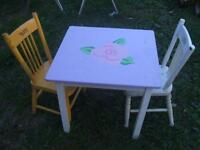 CHILD'S TABLE AND TWO CHAIRS