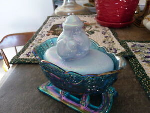 Beautiful Antique Blue and Opalescent Santa On Sled Candy Dish