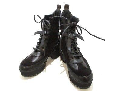Auth LOUIS VUITTON Black Suede Leather SC0185 Women