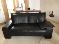 Brown Italian Leather Sofa 2 seater and 3 seater Furniture Village