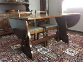 Webber solid oak dropleaf dining table & 4 chairs