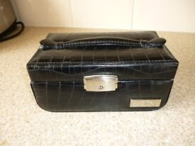 Black Faux Leather Jewellery Box. (with keys)