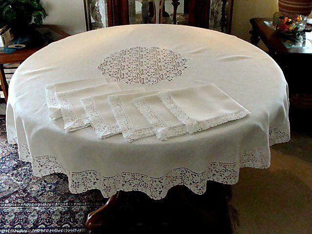 "PRISTINE Vintage Ivory Linen & Lace Tablecloth  65"" Round 6 Napkins c1950s"