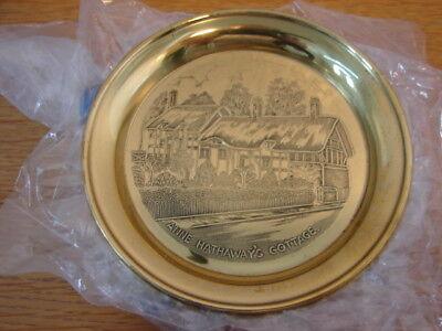 Solid brass set 6 coasters Anne Hathaways Cottage