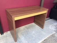 Wide walnut & oak console table