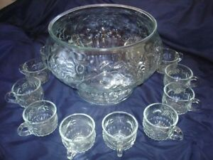 Vintage Fruit Pattern Punch Bowl with 12 Matching Cups/Glasses