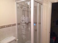 Shower Enclosure complete with Bi-folding Screen, Tray base and almost new Mira Electric Shower