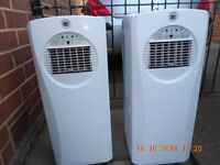 portable air conditioning units x2 like new r410a