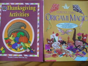 Lot of 2 Teacher Resource Books Thanksgiving and Origami