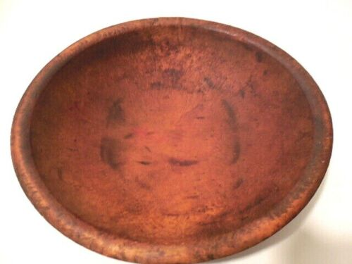 Bowl -- Antique 11 x 10 Oval Hand Made Wood Bowl - It