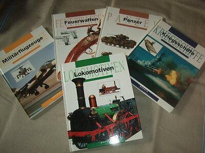 5x Technikbuch,Panzer,Waffen,Flugzeuge,Feuerwaffen,Schiffe,Armee,Eisenbahn,1991