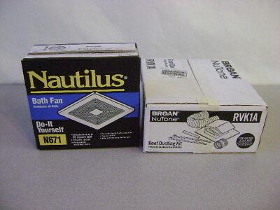 Nautilus White Bathroom Fan Exhaust Bathroom Model # N671  w/ RVK1A ducting kit