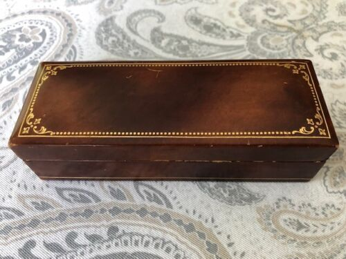 Beautiful Vintage Italian Leather Wood Box Gilt Trim