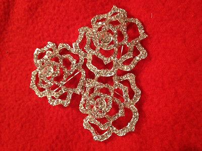 """Silver Wedding Bridal Brooch Bouquet Pin Crystal Rhinestone Flower Rose 2"""" QTY 3"""