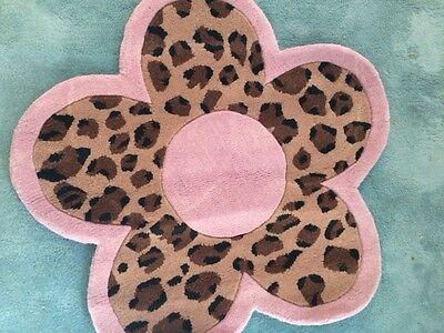 Pink Flower Kids Rug ( Pink 3' Flower Novelty Rug Kids Leopard Quality Girls Kids 3x3)