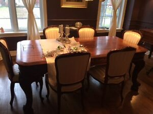 antique rosewood dining table and chairs