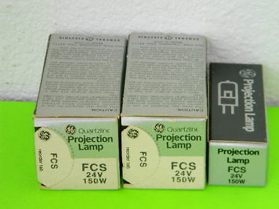 3x New Ge General Electric Quartzline Projection Lamp Fcs 24v 150w Lot Of 3