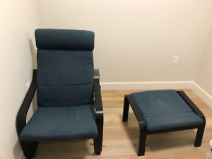 Ikea POÄNG Chair and Foot Stool For Sale as Bundle