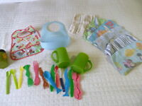All for $5! Baby Feeding Lot - Utensils, Bibs, Wash Cloths, Cups