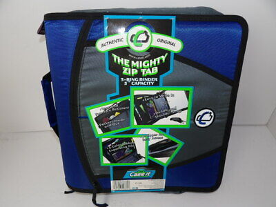 New Case-it The Mighty Zip Tab 3 O Ring Zipper Binder Wtab File Royal Blue Nwt