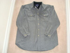 MENS GRAY  WOOL  SHIRT JACKET XL