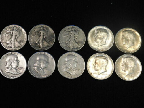 $5 FACE VALUE LOT OF 10 WALKERS, FRANKLIN , KENNEDY HALF DOLLARS 90% SILVER ML2