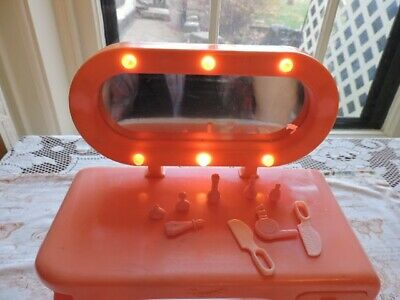 Vintage Barbie Dresser with mirror that still lights, three pull out drawers