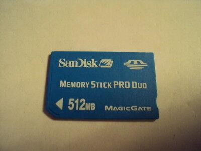 SANDISK MEMORY CARD 512MB STICK PRO DUO FOR SONY ERICSSON W810,W810I,S700I,K750I