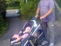 Double Twins Black & Chrome Oyster Max Pushchair