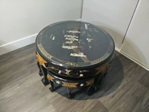 Beautiful engraved stone art round table along with side table