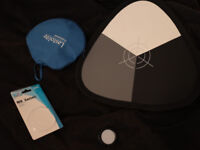 Lastolite white balance / exposure aid and JJC white balance lens cap.