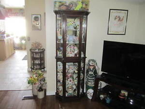 SOLID WOOD HIGH END DISPLAY CABINET WITH CURVED GLASS