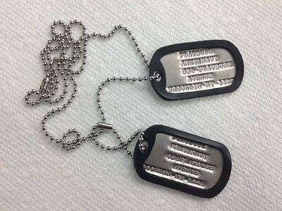 Genuine GI Military Dog Tag Set Personalized Identification Tags With Silencers