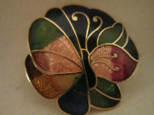 Colorful - Enamel on Gold Tone - Butterfly Brooch