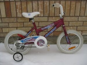 "Girls' Supercycle Illusion 16"" wheel bike with training wheels"