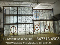 *Wrought iron inserts tempered glass entry doors