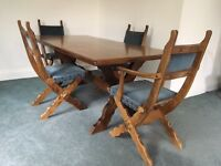 Mahogany dark wood dining table and chairs