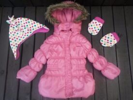 Girls Hooded Winter Coat, Hat & Mittens, Age 12-18 Months