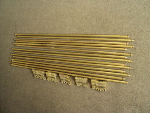 13  VINTAGE SOLID BRASS  STAIR RODS AND 26 BRACKETS